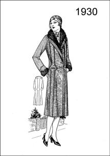 1930 coat style - Figure L2522 limns a smart coat trimmed on collar and cuffs with astrakhan.