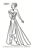 New Look Evening Dress - 1947 fashion history silhouette - colouring-in picture