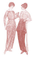 1914 Long Narrow Dresses with Tunic Effects with Dropped Shoulders