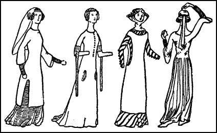 Women in Surcoats - Mid 1300