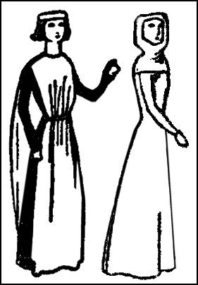 Women - cotehardie and plain gown.