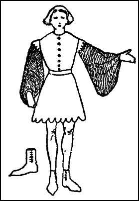 Latest mode in mens C14th fashion - short  houppelande.