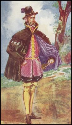 Doublet and Hose - 1550- Tudor Male Fashion Spanish Cloak and Feather Cap.