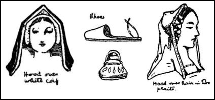 Early Tudor Hoods, Hair Coifs & Shoes