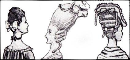 GEORGIAN HAIRSTYLE DRAWINGS 1770-1772, 1775.