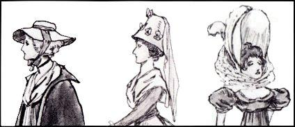 GEORGIAN HAT STYLES - DRAWINGS 1789, 1793 & 1794.