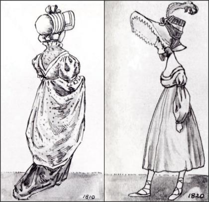 WOMEN 39S GOWNS 1810 1820 ABOVE GEORGIAN HATS DRAWINGS 25