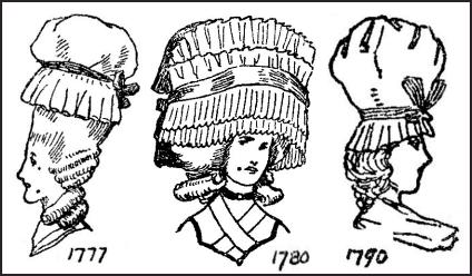 Women's English Costume Mob Cap Drawings - HAIR - GEORGE III