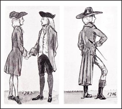 MEN'S COAT DRAWINGS 1783-1786