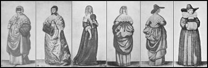 Womens Costume Drawings Hollar, circa 1640