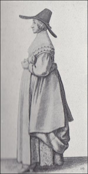 1640 - Lady in wide brimmed hat and brocade underskirt