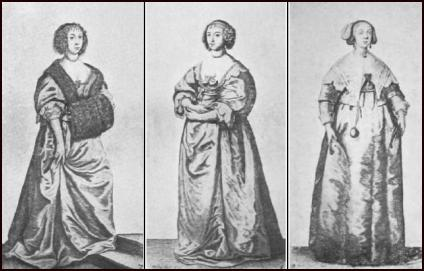 Hollar 17th Century Engravings - Gown Costume Drawings