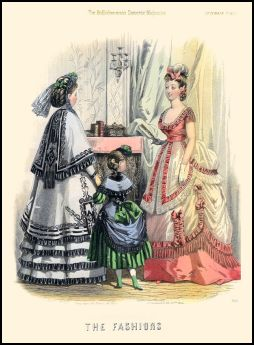 'The Fashions'  From the Englishwoman's Domestic Magazine Fashion Plates 1869