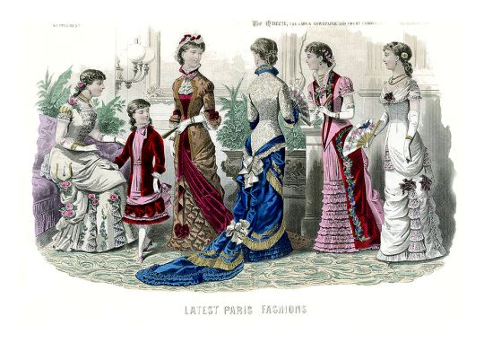 The latest slim fashions of 1880 shown as a group of figures