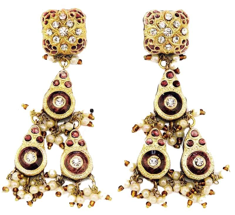 Indian Lac Enamel Jewellery Mixed Drop Earrings - Pictures 6