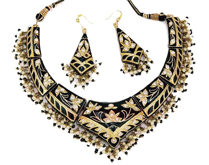 Indian Lac Costume Jewellery Enamel Fashion Necklaces - Pictures 2