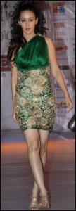 Indian Fashion 2010 - Short Green Brocade Cocktail Evening Dress