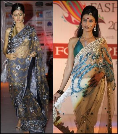These transparent fabrics in the saris are following the international trend among fashion designers for all things sheer and layered.