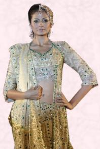 Rich Brocade Long Sleeved Choli, Gold Lehenga Skirt