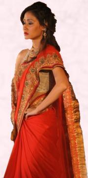 Pure Gold Jari Red Sari - Vibrant Fashion Week Gujarat India 2010