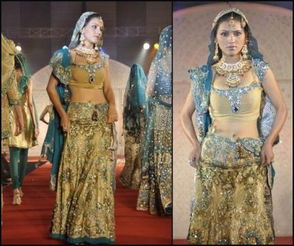 Gold Sea, Aquamarine Lehenga Choli Fashions