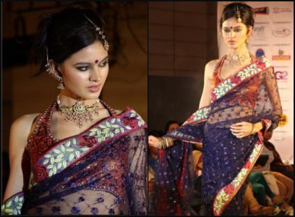 Halter Choli and Navy Sheer Sari