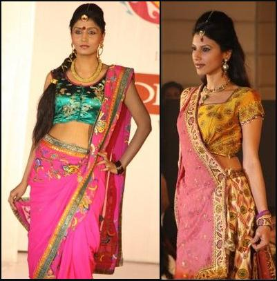 Hot Pink Sari and Gold and Pink Sari.