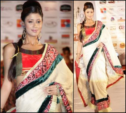 Vibrant Fashion Week Cream and Red Indian Saree.