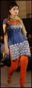 Bordered Blue Kameez - Red Shalwar Pants