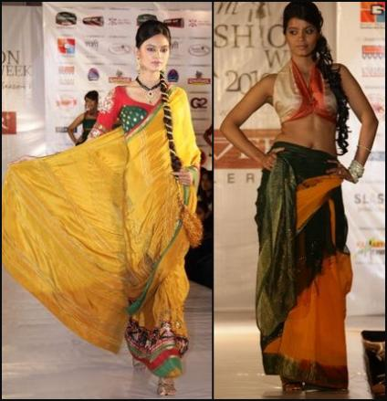 Vibrant Fashion Week Gold Indian Saris