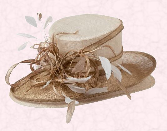 Sinamay East To West Double Brim With Feathers In Natural And Gold At 155