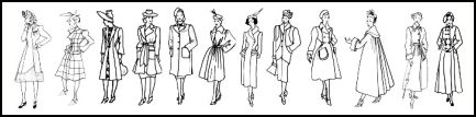 These coats range from 1940 -1949 left to bottom right and larger examples are available further down this page.