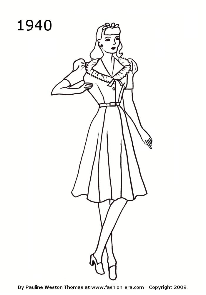 index of images silhouettes 1940 1950 40s Clothing Style 1940 dress frill collar 1000