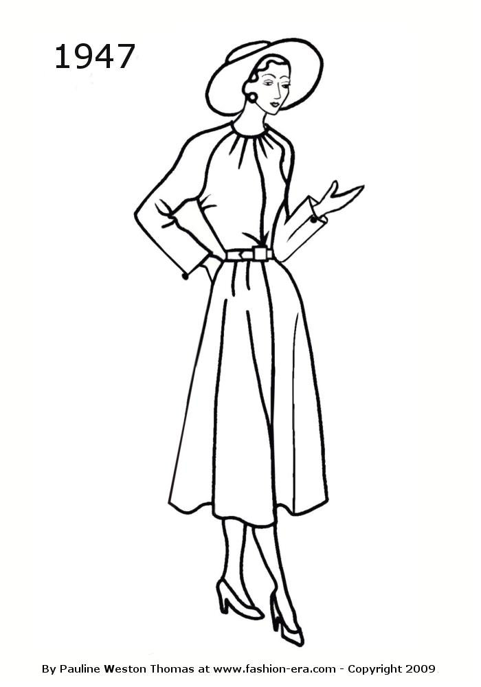 1940 Clothing Colouring Pages