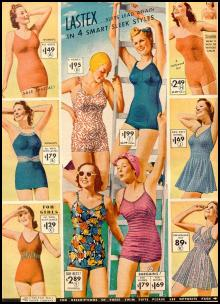1930s 1940s Swimsuits, playsuits, swimming costumes.