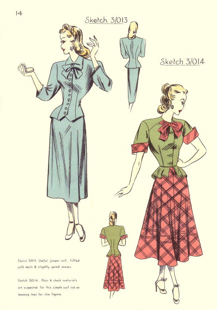 1940s Style Dresses Fashion Clothing: 1948 Free Pattern Cutting Fashion
