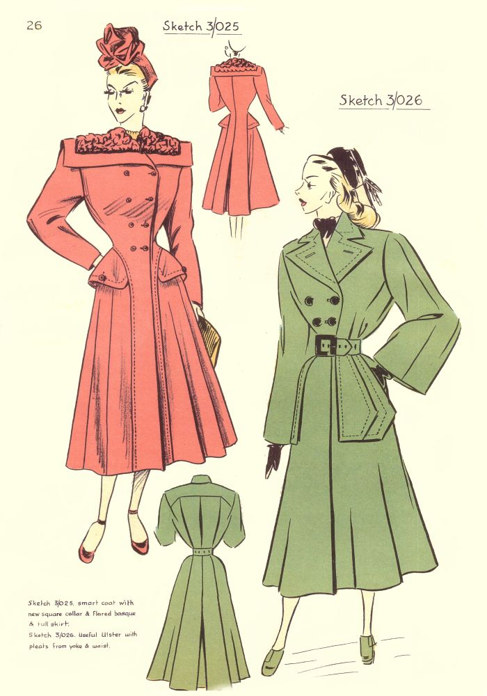 c1948 Fashion Designs - Sewing Pattern Cutting Drafts 3025 and 3026