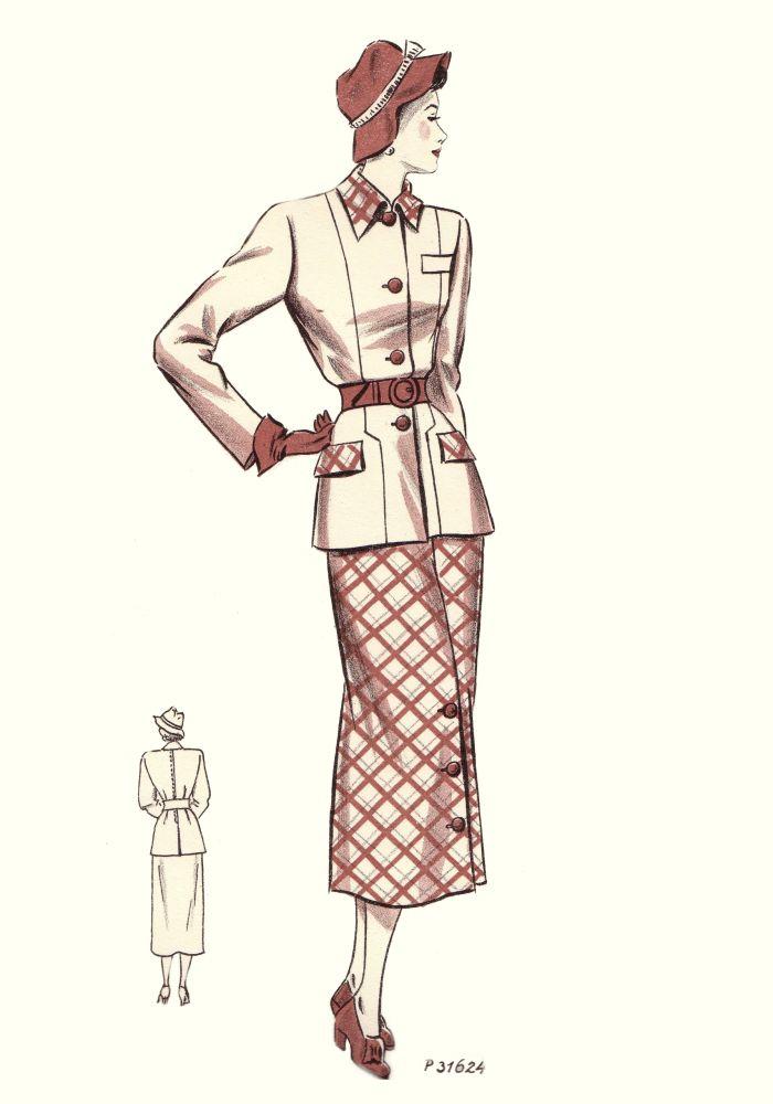 1940s Fashion History 1949 Tailleur Trade Fashion