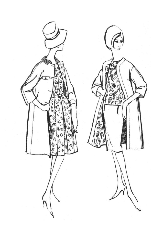 1960s Colouring-In Fashion Line Drawings for Sewing Patterns