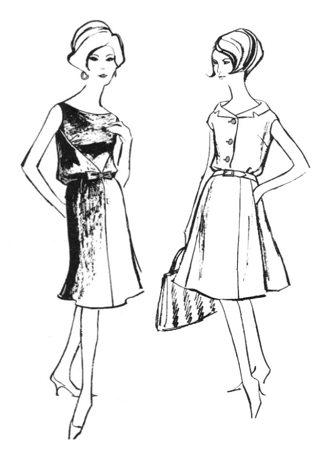 1960s Colouring-In Fashion Line Drawings for Sewing ...