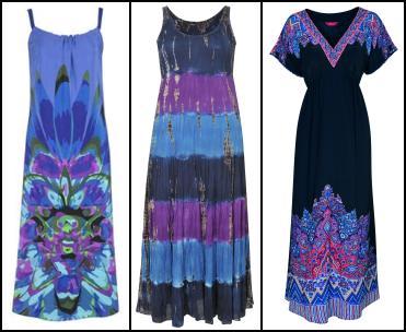 793758b0101 Windsmoor Maxi Print Blue Sundress £149. Centre - Evans Tie Dye Maxi Dress £