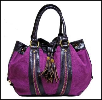 c9c711a25db18 Purple Magenta Suede Effect Handbag With Tassels Zip Detailing.