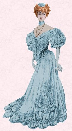 00f7d44eab2 Drawing of a lady in an evening gown. Edwardian costume and fashion history.