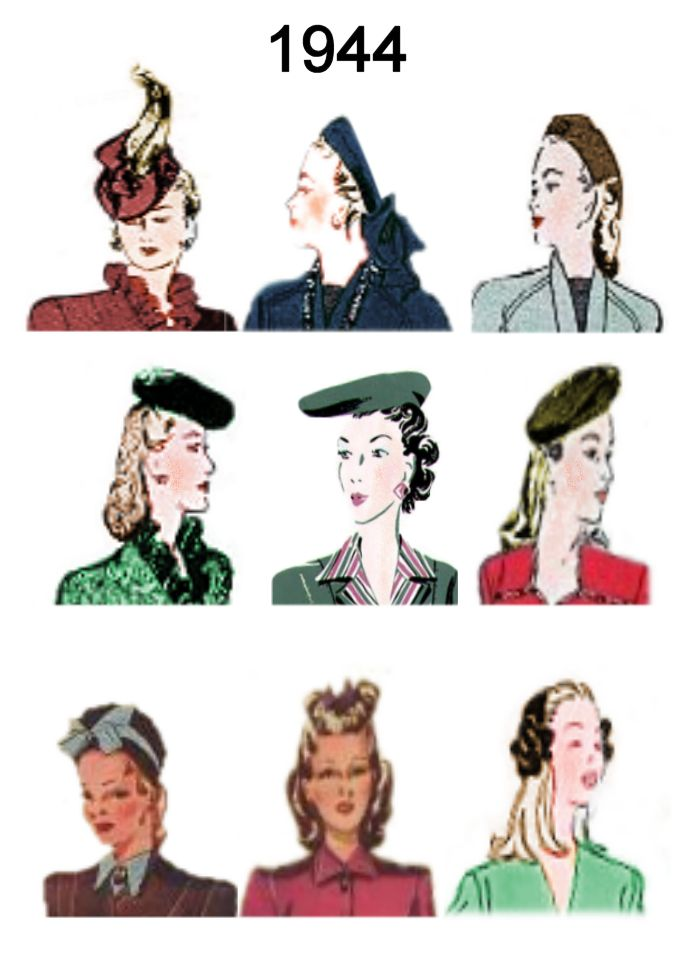 1940-1945 Pictures of Hairstyles and Hats in 1940s Fashion History ... b3d44c1e20a