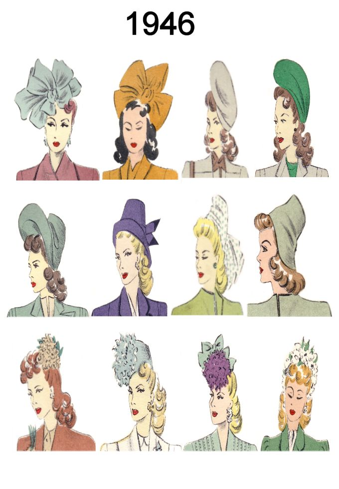 Hat And Hair Style Fashion History Images 1946 1949 Fashion
