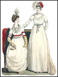 359e43d0f716 The Empire Dress Style 1800 Costume History - White Muslin Empire Dresses  of 1800