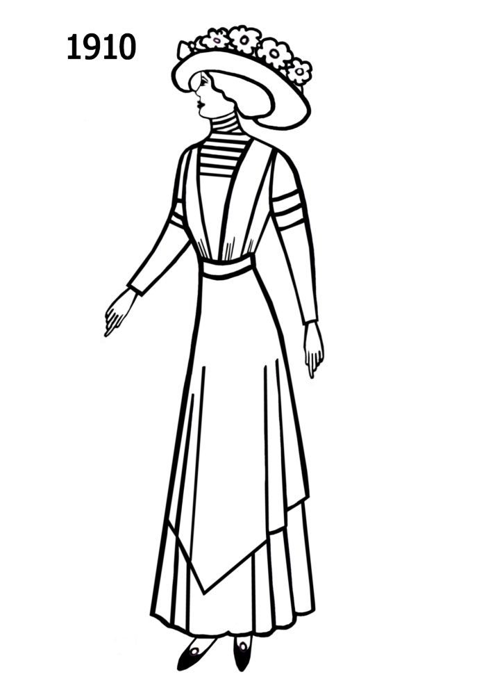 costume silhouettes free line drawings 1910 1913 fashion history 1970 Wigs for Women line drawing of late edwardian dress 1910