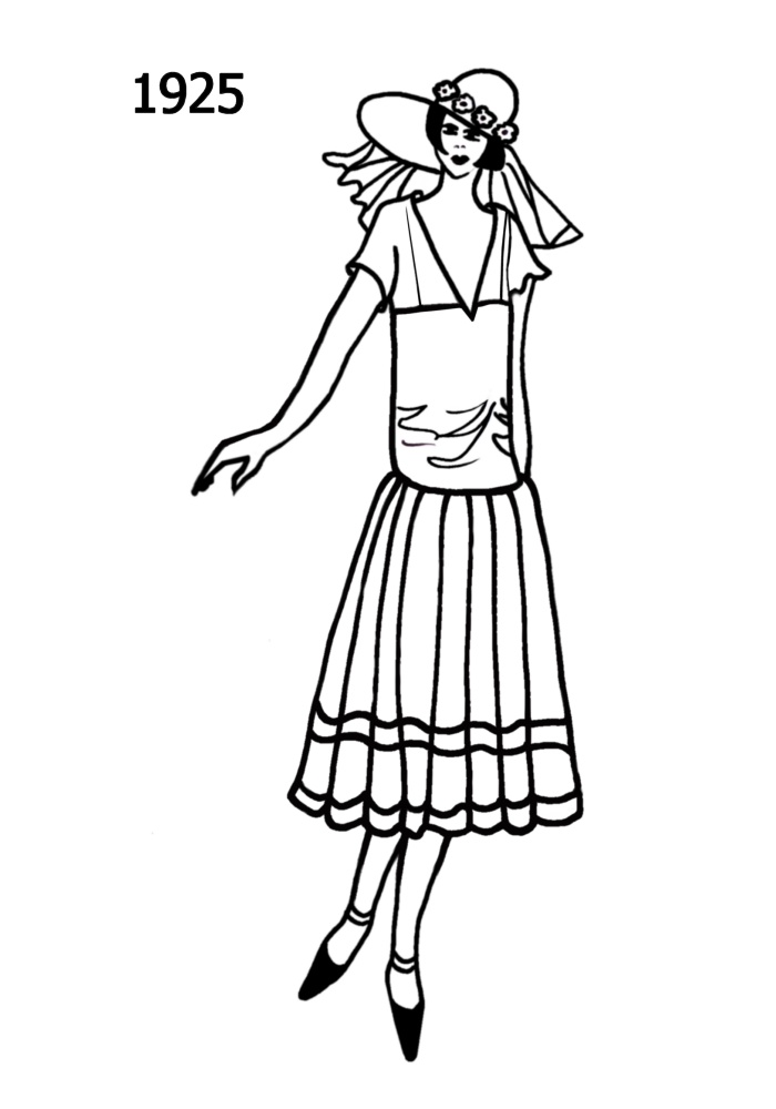 costume history silhouettes 1924 1925 free line drawings fashion Action Costumes Women silhouette line drawing of shorter drop waisted dress 1925