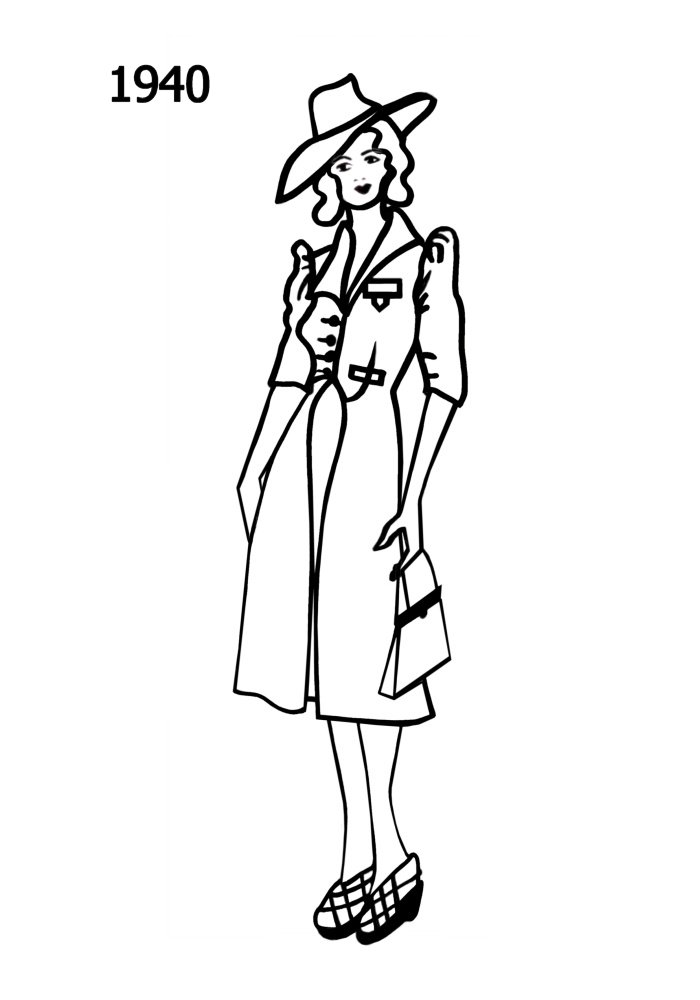 costume history silhouettes 1938 1939 free line drawings fashion Russian Clothing Today costume history line drawing of dress 1940