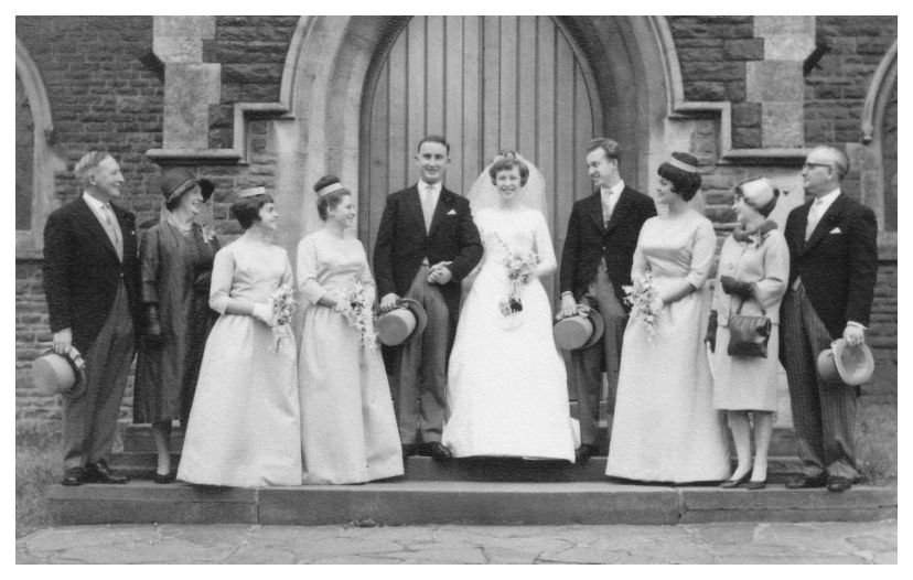 Images Of Gowns For Wedding: 1963 Wedding Dress Picture Of Bride And Group. Sewing